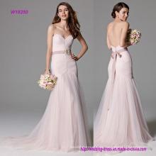 Vestido de casamento de sereia rosa luxo