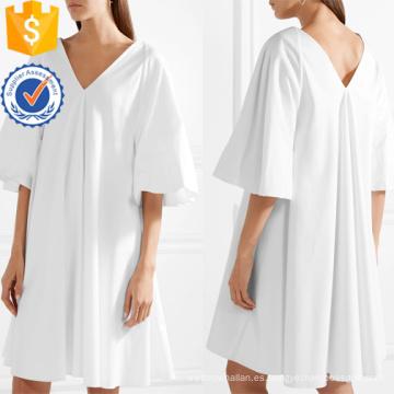Vestido de verano de gran tamaño de algodón blanco con cuello en v Mini vestido de fabricación de ropa de mujer al por mayor (TA0297D)