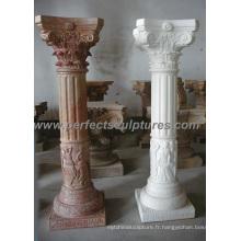 Pilière grecque avec grès en granit de marbre en pierre (QCM086)
