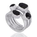 Eleganter Großhandel Modischer schwarzer Onyx Edelstein 925 Silber Ring