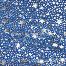 100% Polyester Silver Powder Printed Clinquant Velvet Fabric For Christmas Toys