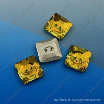 Boutons carrés fantaisie avec deux trous