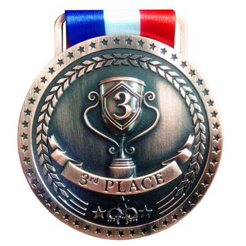 Antika Finish Bronze Medaljer Med Ribbon