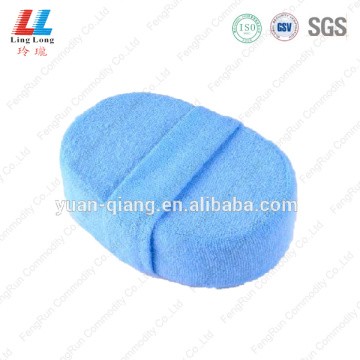 Soft fuzzy oval bath sponge