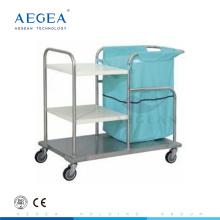 AG-SS018 drei Schichten medizinische Kleidung Stahl Instrument Krankenhaus Wäschewagen