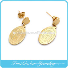 Wholesale vacuum plating 14k gold stainless steel graceful blessed Virgin Mary charm pendant drop earring