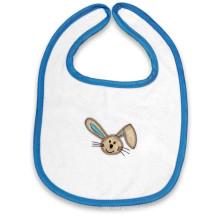 Babero de felpa de encargo del bebé del conejo de algodón bordado de la historieta blanca