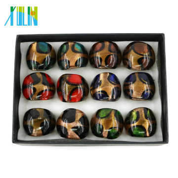 MC1001 Heißer Design Großhandelspreis Auf Dem Thumb Handmade Lampwork Glas Ringe 12 teile / schachtel