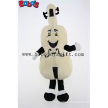 Bege personalizado mascote de violino de pelúcia com sorriso rosto brinquedos Bos1126