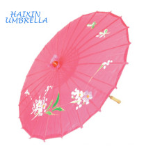 Entrega Rápida Presentes Wedding Favors Flores e Pássaros Desenho Straight Bamboo Frame Parasols Papel Pink Japanese Silk Umbrella