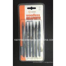 Crayons de graphite sans bois 6 PCS Blister Emballage