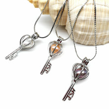 Antique Silver Key Locket Cage Charms Necklaces Pendants