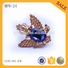 MPB24 China manufacturer crystal type metal pin badge with butterfly clasp for garment custom
