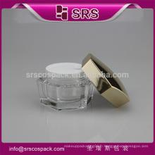 SRS fabricant récipient cosmétique, pichet en acrylique avec bocal cosmétique intérieur, maçon pour poudre