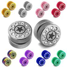 Magnetic Fake Plugs Taper Earrings CZ Star