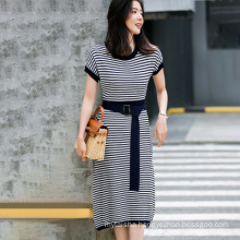 French Classic Stripe Slimming Pit Strip Round Neck Knitted Skirt 2020 New Contrast Color Belt Elegant Dress