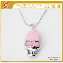 Rose Quartz Skull Gemstone Pendant Necklace