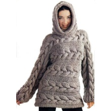 Custom 100% Hand Knit Women′s Sweater Cardigan Pullover Coat Clothing