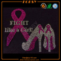 Fight Like A Girl high heel rhinestone transfers