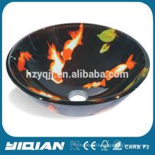 China Manufacture Cheap Golden Fish Glass Sink for Bathroom Whoesale Tempered Glass Sink Basin