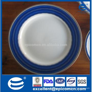 Bordes azules borde super blanco porcelana vajilla platos azul y blanco