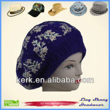 LSA22 Ningbo Lingshang Blue Fashion Angora und Wolle mit Blumen warmen Hut