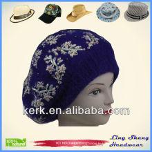 LSA22 Ningbo Lingshang Blue Fashion Angora et laine aux fleurs chaude chapeau