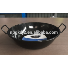 enamel deep frying pan/China wok/black wok with two handles