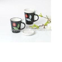 12OZ taza de cerámica en forma de v con cuchara y tapa para BS12008