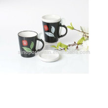 12OZ ceramic v shape mug with spoon and lid for BS12008