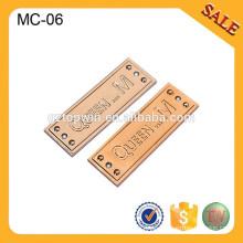 MC06 kundenspezifische Metallbekleidungsetiketten Metall Markenlogo Aufkleber für Damekleidung