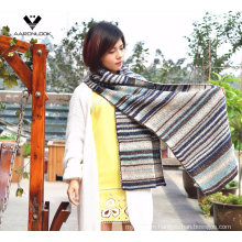 Lady′s Fashion Warm Acrylic Mohair Multicolor Stripe Knitted Scarf
