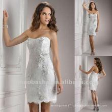 Chic Короткие Кружева Straples Пояс Сплошной Цветочный Декор Колонны Свадебное Платье Свадебное Платье