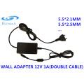12V 2A cable doble adaptador de pared 5.5 * 2.1mm 5.5 * 2.5mm CCTV fuente de alimentación