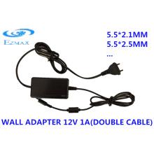 12V 2A Адаптер для двойной кабельной стены 5.5 * 2.1mm 5.5 * 2.5mm CCTV источник питания