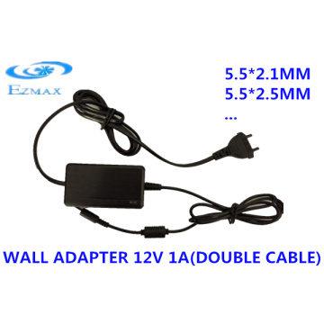 12V 2A Double câble Adaptateur mural 5.5 * 2.1mm 5.5 * 2.5mm CCTV alimentation