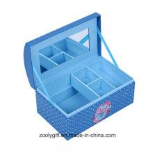 Caixa de presente do armazenamento do organizador da jóia do papel musical com bandeja interna e espelho extra