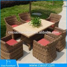 Moderne 6 Sitz-Tabelle und Stühle benutzten Rattan-Weiden-Möbel