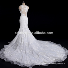 Customized Embroidered Flowers Mermaid wedding dress bridal gown