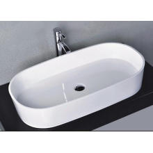 Elegant Square Counter Top Glossy White Marble Basin (BS-8307)