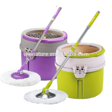 New 360 Magic Spin Mop Single Bucket 2 Microfiber Rotating Heads