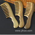 green sandalwood wide tooth comb with handle