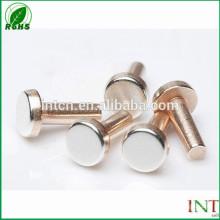 cabeza plana remaches sólidos de cobre plata