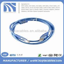 Alta qualidade USB 2.0 um macho para B cabo de impressora masculino transparente azul