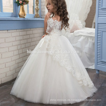 2 3 4 5 6 7 Jahre alt Chirldren weiße Farbe Ärmel Tüll Blumenmädchen Kleid