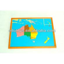 Montessori Set - Australien Puzzle Karte mit BEECHWOOD FRAME