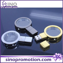 Lente d'ingrandimento Oro in metallo e argento 128GB Flash Drive