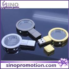 Lupa Metal Ouro e Prata 128GB Flash Drive