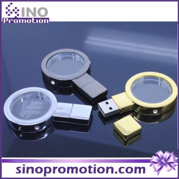 Lupa de metal de oro y plata 128 GB Flash Drive