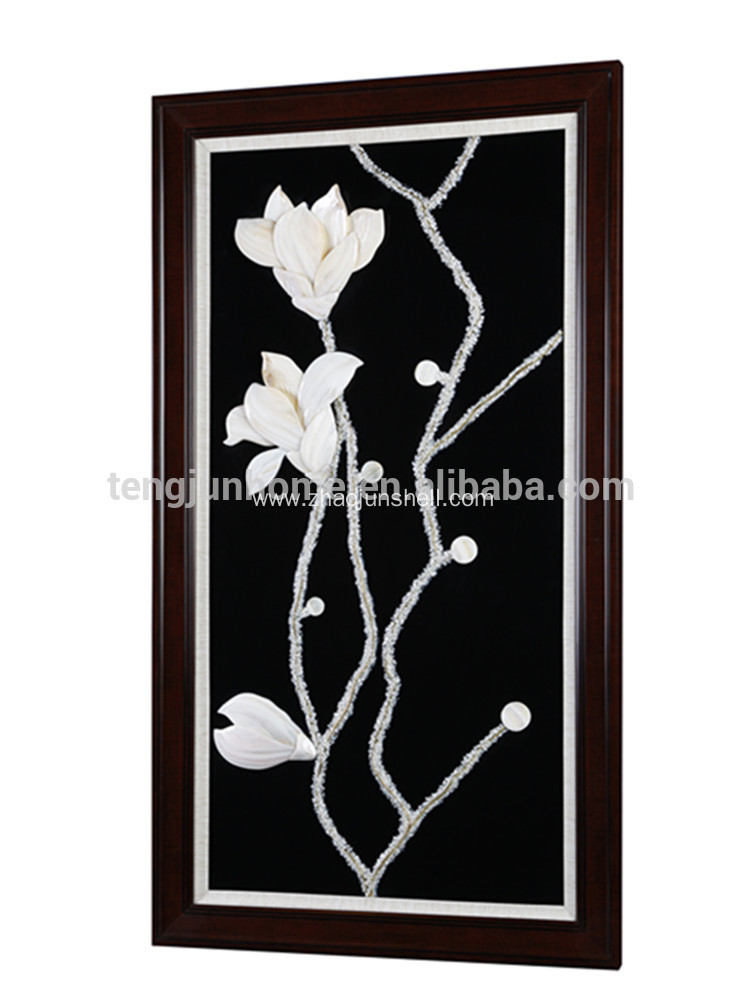 Unique Shell Made Magnolia Flower Shape Wall Picture for Decoration